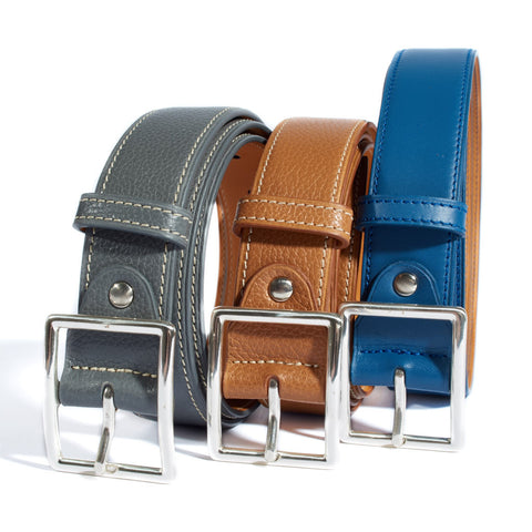Pebbled Leather Belt - Blue
