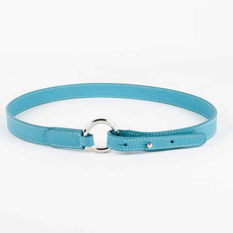 Thin Ring Buckle Leather Belt - Turquoise