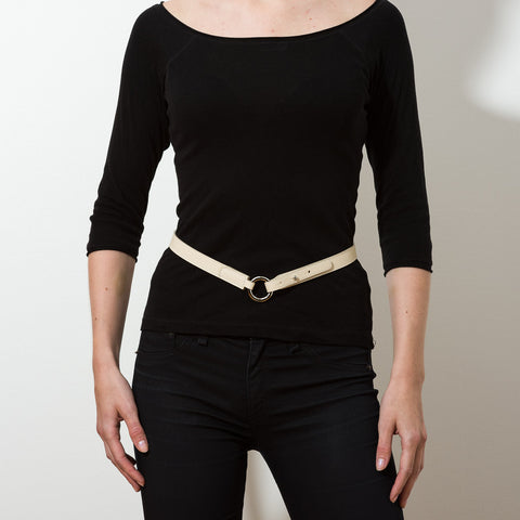 Thin Ring Buckle Leather Belt - Cream