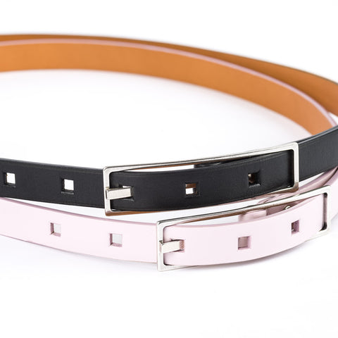 Thin Rectangular Buckle Leather Belt - Pink