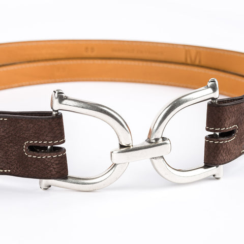 Suede Leather Belt - Chocolate