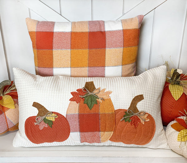 3 Pumpkin Pillow Cover on Ivory