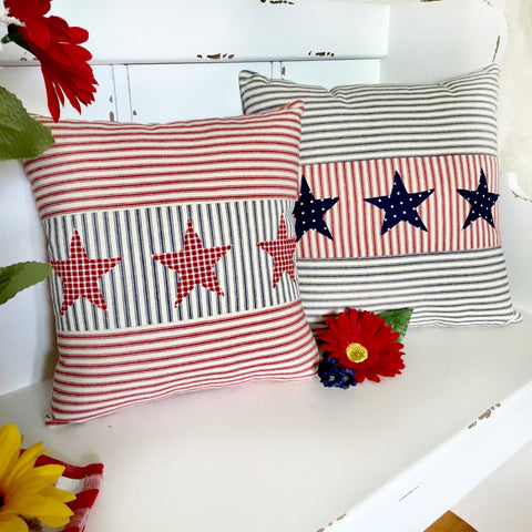 Ticking Patriotic Pillow Cover