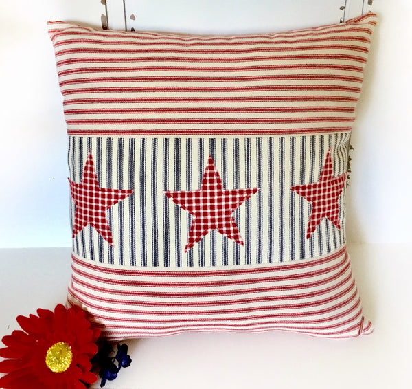 Red Ticking Patriotic Pillow Cover