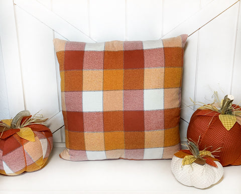 Orange Plaid Pillow Cover