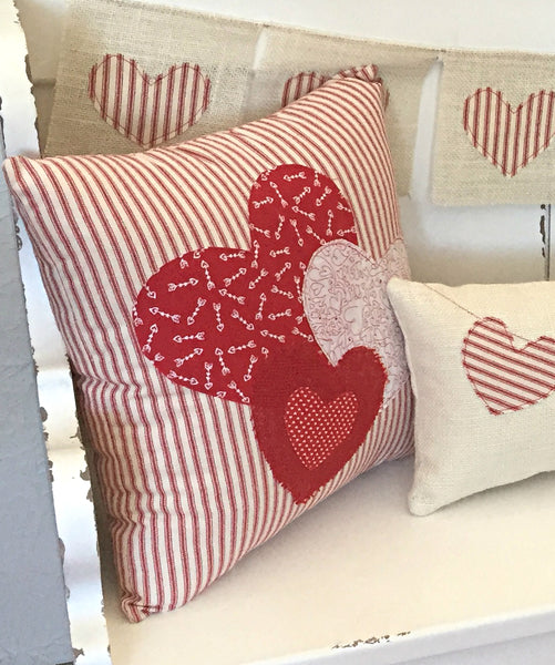 Red Ticking Hearts Pillow