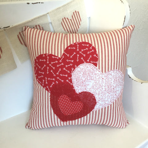 Red Ticking Hearts Pillow Cover