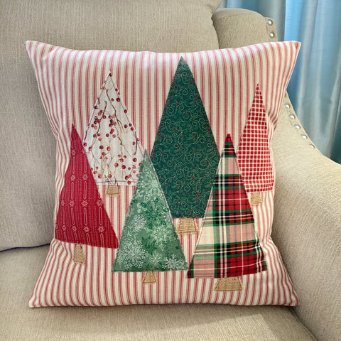 Christmas Trees Red Ticking Pillow Cover
