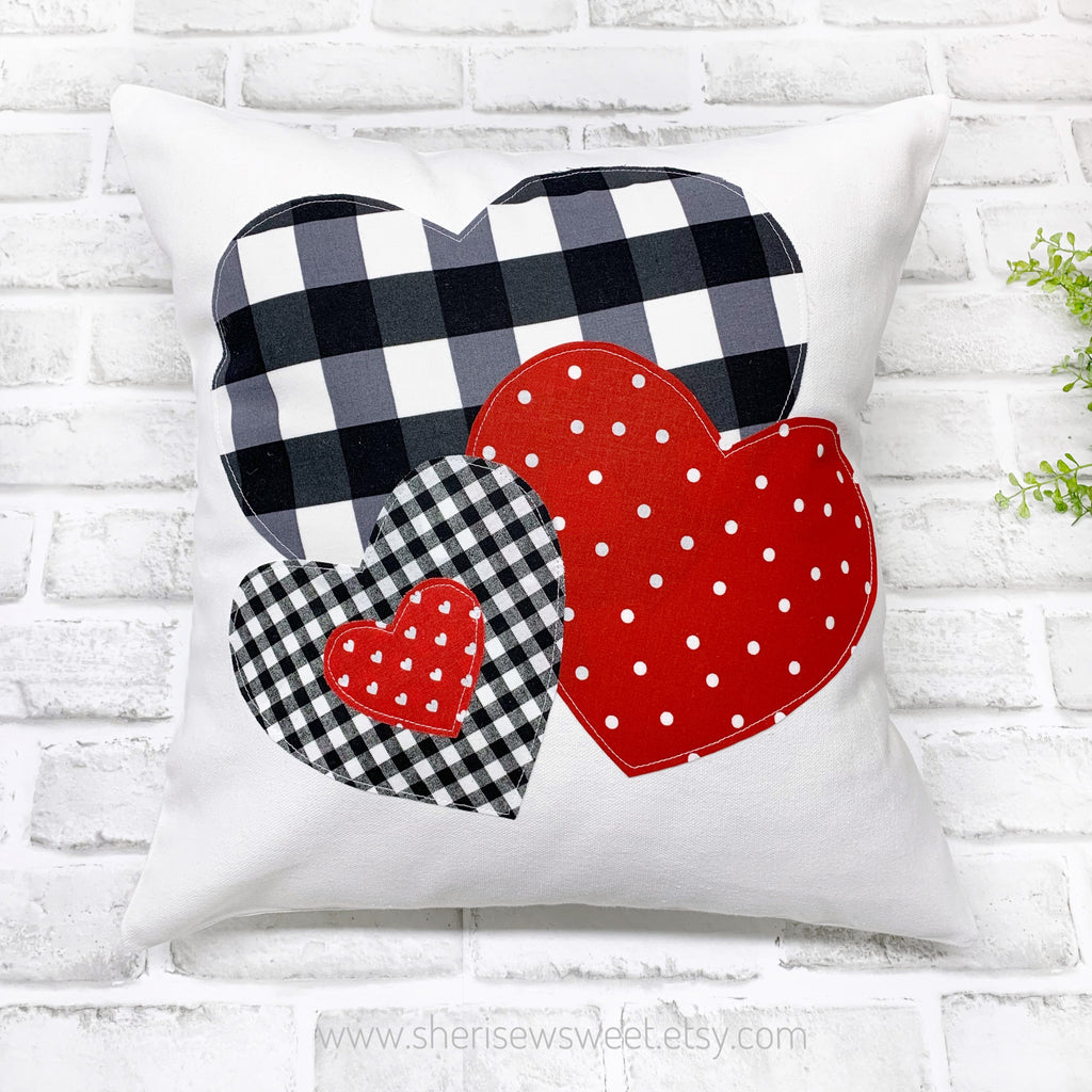 Buffalo Plaid and Polka Dot Valentine Pillow Cover