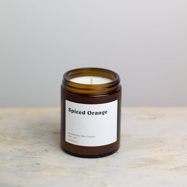 Spiced Orange 180ml Soy Wax Candle, is our festive Autumn scent. The Scent: Top notes of Orange compliment a warm and spicy base note of Cinnamon, Nutmeg and Clove