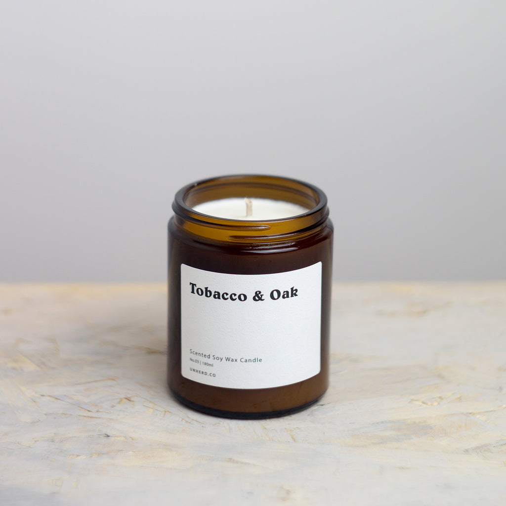 Tobacco & Oak - 180ml Soy Wax Candle