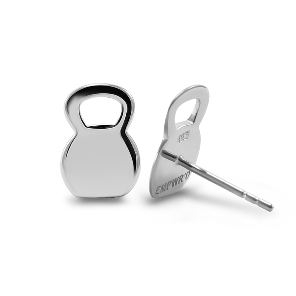 Sterling Silver Kettlebell Stud Earrings