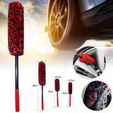 Car Wheel Hub Cleaning Brush Wool Flexible Long Handle Premium Wool Car Rim Brushes Soft Fiber Car Tire Cleaning Brush
