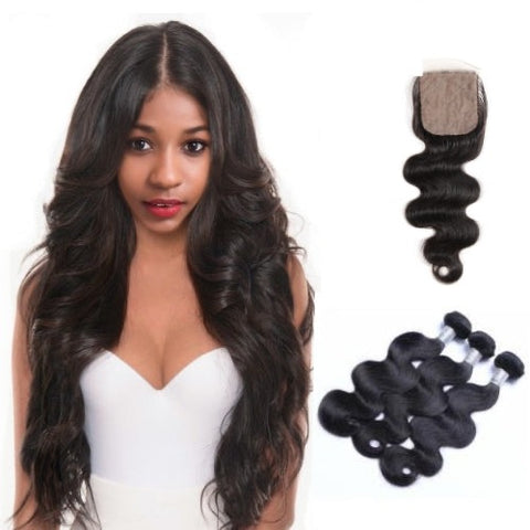 Hair-N-Paris Premium Body Wave Bundles with Silk or Lace Closure Set