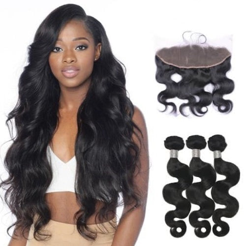Hair-N-Paris Premium Body Wave Full Lace Frontal And 3 Bundle Set