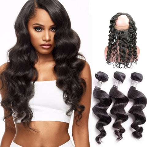 Hair-N-Paris Premium Loose Wave 360 Frontal and 3 Bundle Mixed Length Set