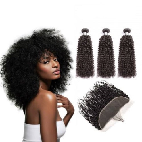 Hair-N-Paris Kinky Curly Full Lace Frontal And 3 Bundle Set