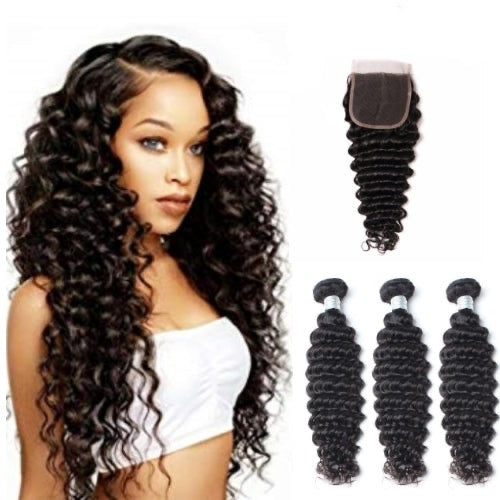 Hair-N-Paris Premium Deep Wave Bundles with Silk or Lace Closure Set