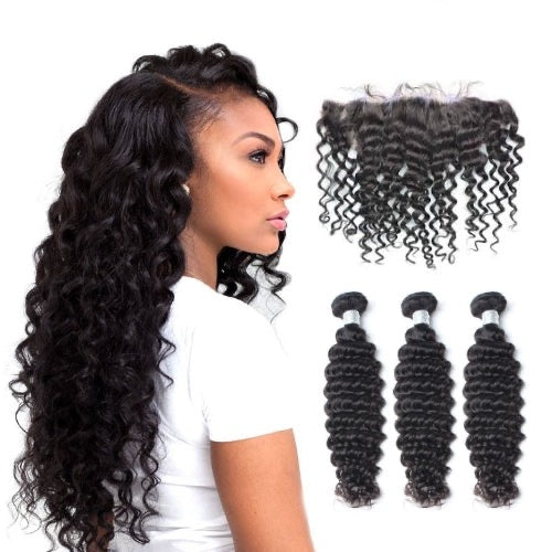 Hair-N-Paris Premium Deep Wave Full Lace Frontal And 3 Bundle Set
