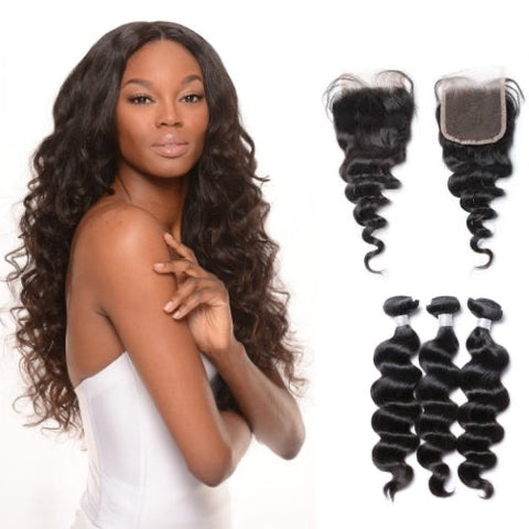 Hair-N-Paris Premium Loose Wave Bundles with Silk or Lace Closure Set