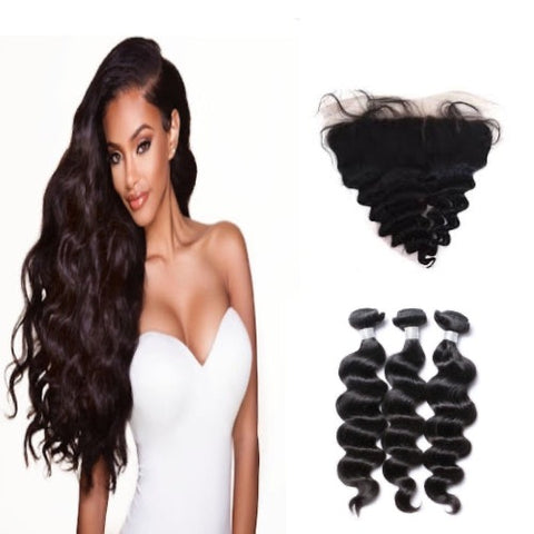 Hair-N-Paris Premium Loose Wave Full Lace Frontal And 3 Bundle Set