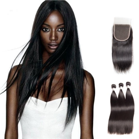 Hair-N-Paris Premium Straight Bundles with Silk or Lace Closure Set