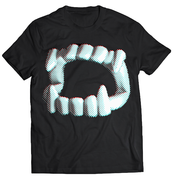 "ATOM AGE: ""VAMPIRE TEETH"" 3D T-SHIRT WITH GLASSES"