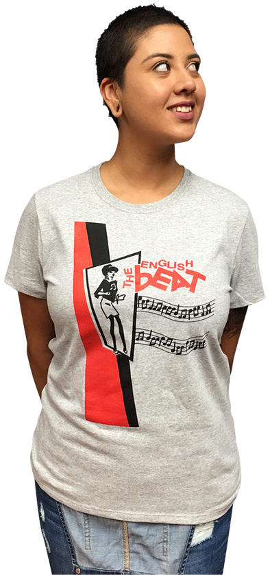 "ENGLISH BEAT ""BEAT GIRL"" LADIES LIGHT STEEL HEATHERED T-SHIRT"