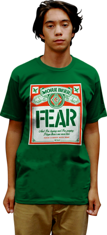 "FEAR LIMITED EDITION ""MORE BEER"" BEER LABEL ST. PATRICK'S DAY T-SHIRT"
