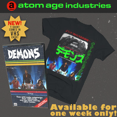 "LAMBERTO BAVA'S ""DEMONS"" LIMITED EDITION T-SHIRT IN VHS CASE"