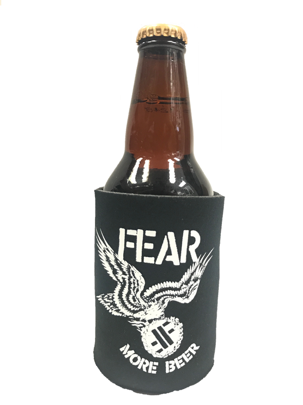"FEAR ""MORE BEER EAGLE LOGO"" CAN AND BOTTLE INSULATOR"