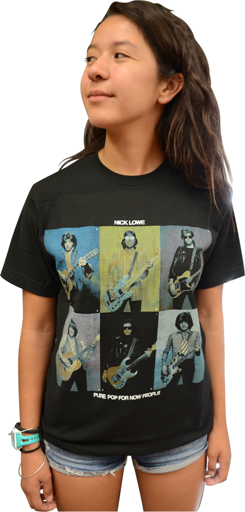 "NICK LOWE ""PURE POP FOR NOW PEOPLE"" ALBUM COVER T-SHIRT"