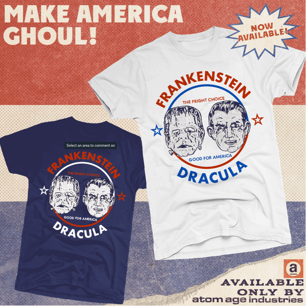 "ATOM AGE: ""FRANKENSTEIN X DRACULA"" MONSTER ELECTION T-SHIRT"