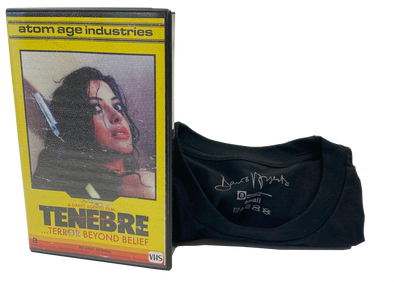 "DARIO ARGENTO'S ""TENEBRE"" LIMITED EDITION T-SHIRT IN VHS CASE"