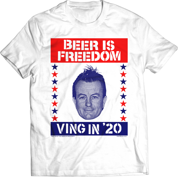 "LEE VING ""BEER IS FREEDOM"" CAMPAIGN T-SHIRT"