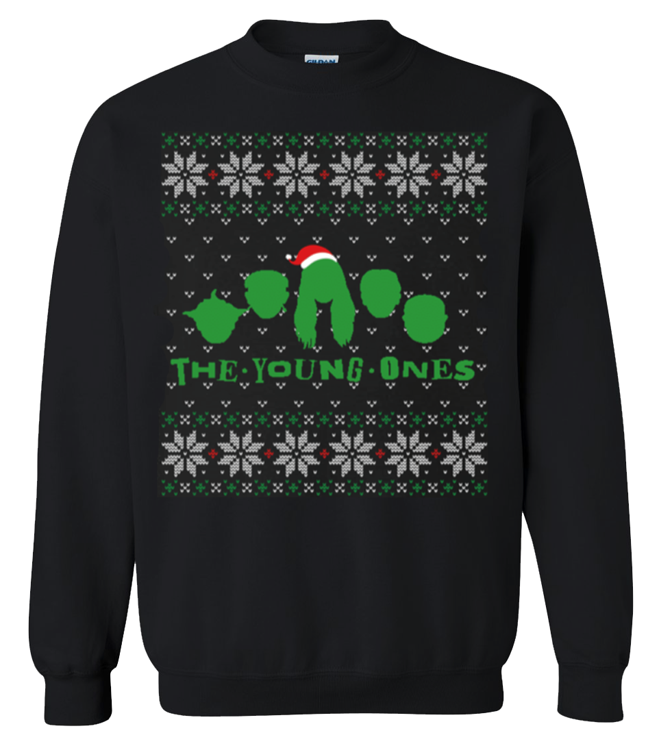 "YOUNG ONES ""SHILOUETTES"" UGLY CHRISTMAS SWEATER - BLACK"