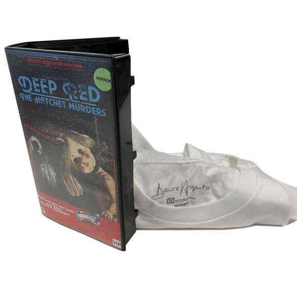 "DARIO ARGENTO'S ""DEEP RED"" LIMITED EDITION T-SHIRT IN VHS CASE"