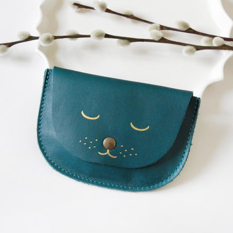 Cat Purse - Peacock Blue