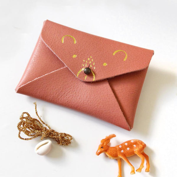 Bear Leather Purse - Coral Pink