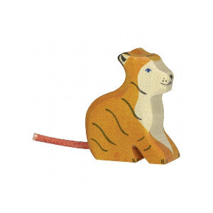 Wooden Young Tiger Figurine