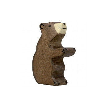 Wooden Young Bear Figurine