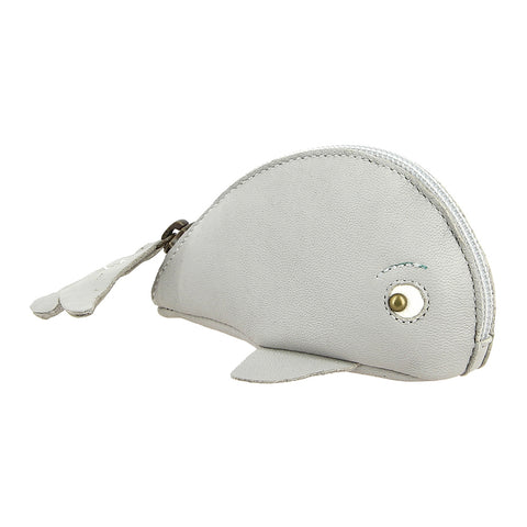 Whale Coin Purse - Light Grey