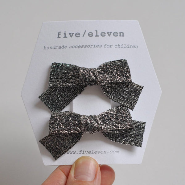 Hair Clip, set of 2 - Japanese Black Silver Bows
