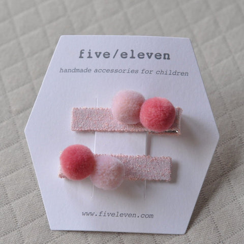 Hair Clip, set of 2 - Cotton Candy Poms
