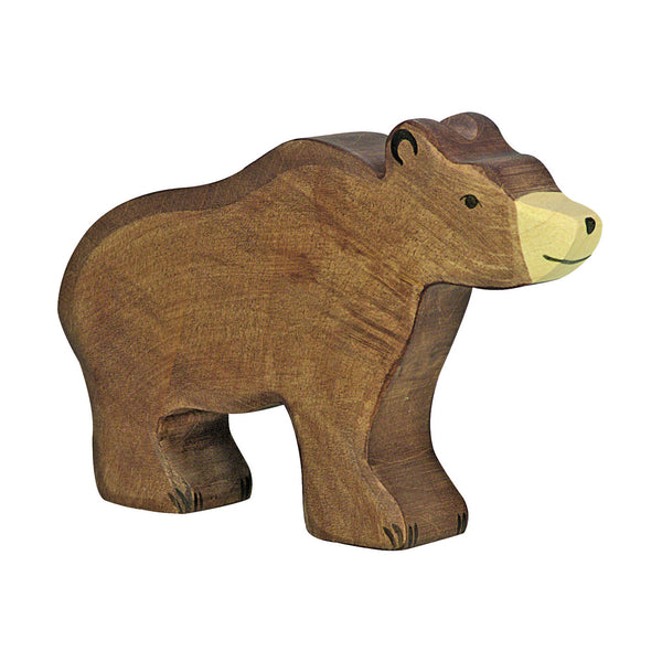 Wooden Brown Bear Figurine
