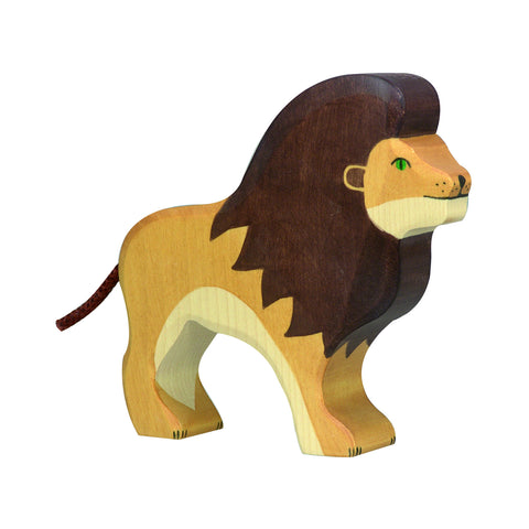 Wooden Lion Figurine