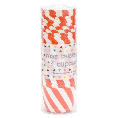 25 Orange Diagonal Stripe Baking Cups