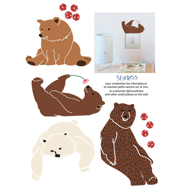 Wall Sticker, Lazy Bears