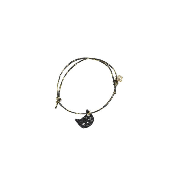 Black and Gold Bracelet with Black Cat