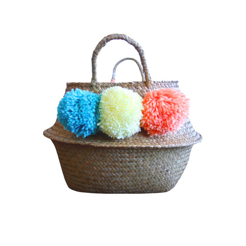Pom Pom Basket, Yellow